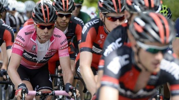 Pink jersey Cadel Evans in the peloton during the 9th stage of the Giro d'Italia on Sunday.