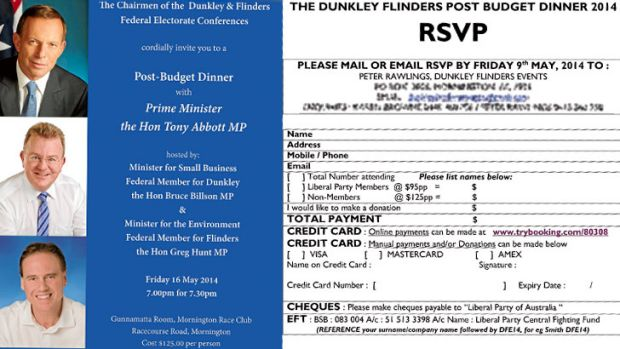 You're invited ... for a cost: a brochure for a Liberal Party fund-raiser.