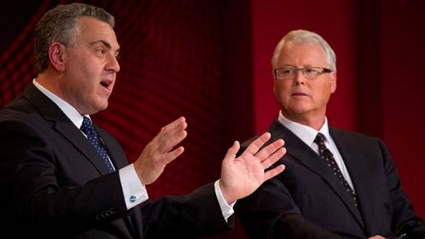 """We didn't say we wouldn't raise any taxes"": Joe Hockey addresses a live forum at Penrith Panthers Leagues Club for the ..."