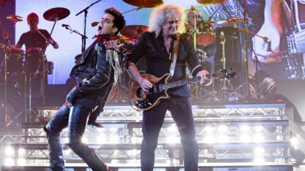 Adam Lambert with Brian May.