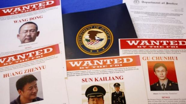 Wanted: Material displayed at the US Justice Department as unprecedented indictments were announced against five Chinese ...