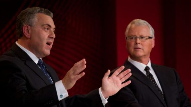 Mixed reception ... Treasurer Joe Hockey (left) answers questions from the public about the Federal Budget during the ...