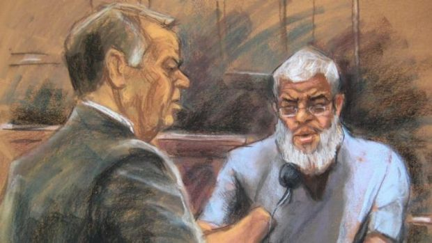Engaged in jihad ... An artists impression of Abu Hamza al-Masri, the radical Islamist cleric convicted of US 11 ...