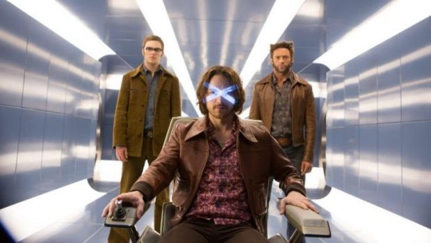Seat of power: James McAvoy is flanked by Nicholas Hoult and Hugh Jackman in <i>X-Men: Days of Future Past</i>.