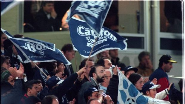 Carlton soccer fans at the 1997/1998 NSL grand final.