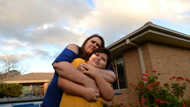 Desperate times: Kimberley Reid with son Nathaniel, 8.