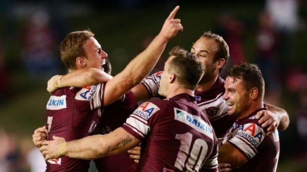 Cherry on top: Daly Cherry-Evans celebrates after kicking the winning field goal on Monday.