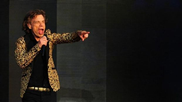 You've got to move like great-grandpa ... Mick Jagger performs with the Rolling Stones during the British Summertime ...