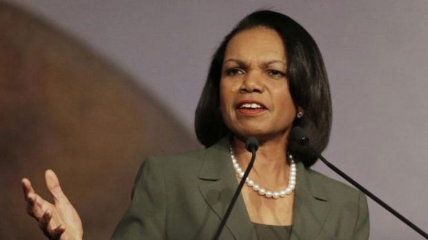 Pulled out: former US secretary of state Condoleezza Rice was targeted over her advocacy for war in Iraq.