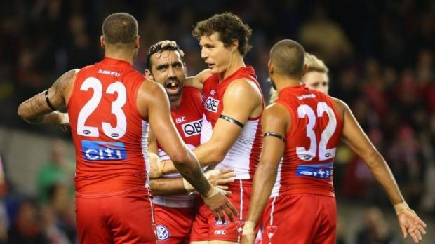 Well-heeled Swans Lance Franklin, Adam Goodes and Kurt Tippett.