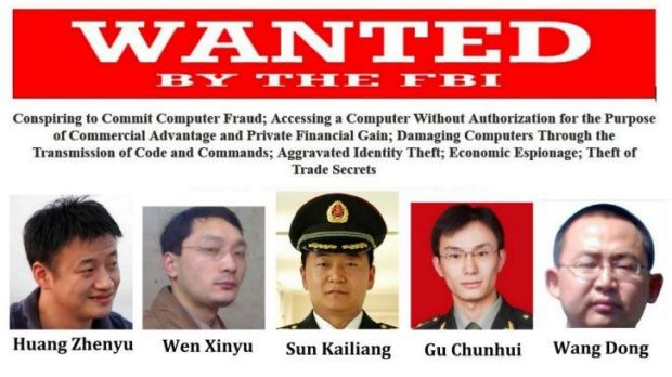 The five Chinese men have been indicted for allegedly stealing trade data from industrial companies.