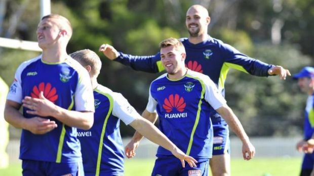 Mitch Cornish enjoys a joke at Raiders training on Wednesday.