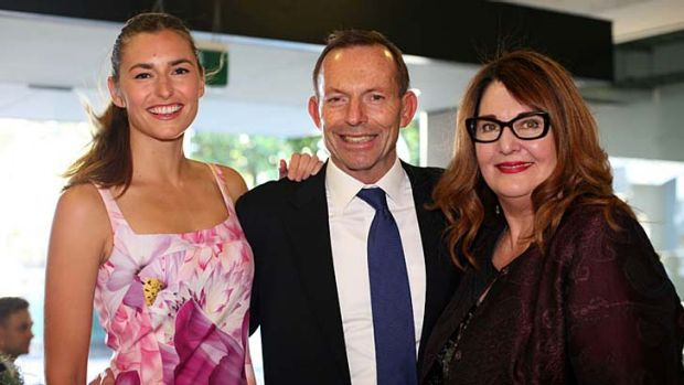 Cosy: Frances Abbott, Tony Abbott and Leanne Whitehouse.