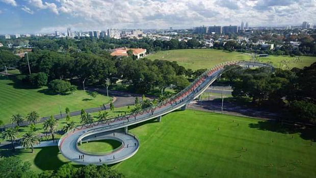 Artist's impression of the Moore Park bridge proposal.