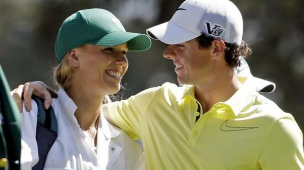 Happier times: Rory McIlroy and Caroline Wozniacki.