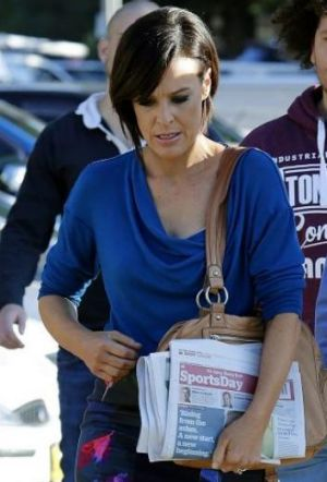 Natarsha Belling appeared upset as she left the show's Manly studios yesterday.