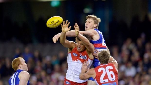 Jordan Roughead (centre) will add some muscle and height to the Bulldogs defence.