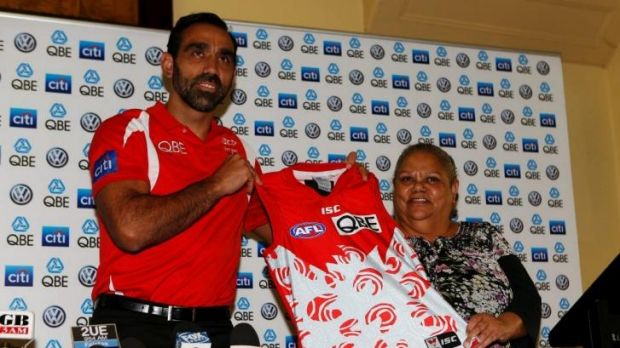 Sydney Swans Adam Goodes and his mother Lisa Sansbury unveil the clubs first ever Indigenous Round guernsey designed by ...