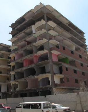 Demolished: an apartment block in the Cairo suburb of Maadi which was declared illegal in March.
