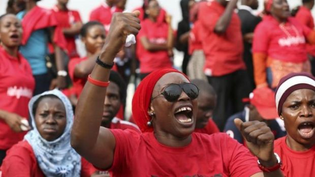 Demonstrators marched to the presidential villa to deliver a protest letter to Nigeria's President Goodluck Jonathan.