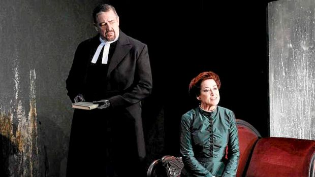 Philip Quast (Pastor Manders) and Linda Cropper (Mrs Alving) in the MTC production of Ibsen's <i>Ghosts</i>.