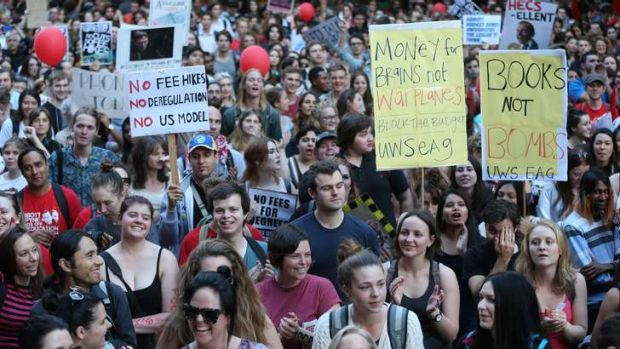 Hopes dashed: University students protest education cuts.