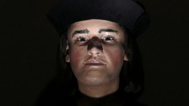 A facial reconstruction made from the skull of King Richard III after it was discovered.