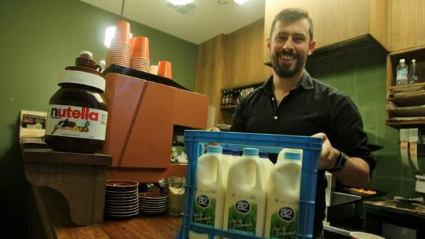 Simon Michelangeli at his Fugazza cafe in the CBD wher they only use A2 milk.