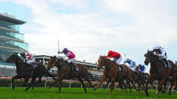 Michelle Payne guides Lonhspresso home in the Straight Six at Flemington on Saturday.
