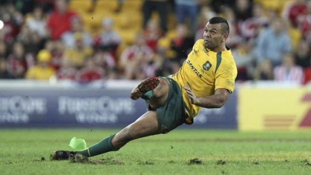Kurtley Beale slips up against the British and Irish Lions.