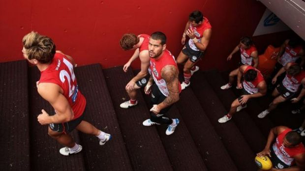 You looking at me?: Sydney's Lance Franklin is ready to take on Geelong for the first time as a Swan.