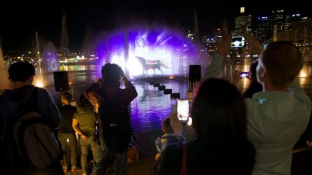 Vivid Sydney's Aquatique Water Theatre at Darling Harbour.