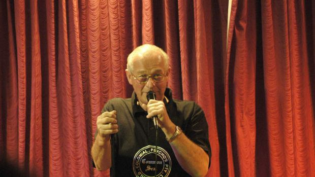 The showman: Rogerson performs at the Morphett Vale Function Centre in Adelaide's south in 2004.