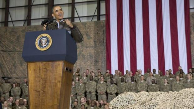 President Barack Obama speaks to US troops during his Sunday visit to Bagram in Afghanistan.