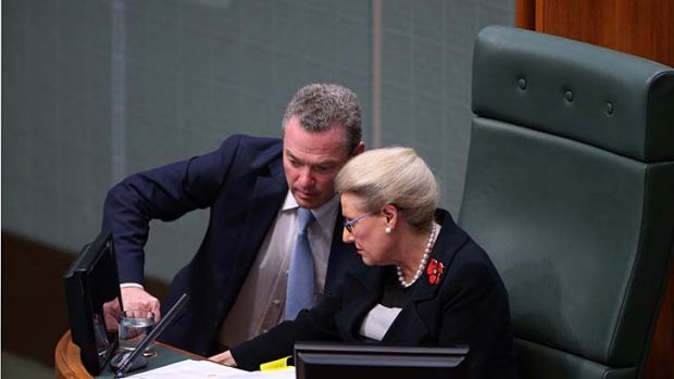 "Manager of government business Christopher Pyne said the opposition's motion was about ""smear and innuendo directed at ..."