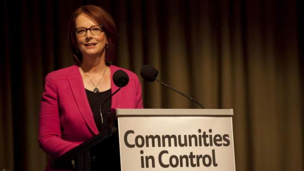 Former Prime Minister Julia Gillard delivers the Joan Kirner Justice Oration at the Communities in Control conference.