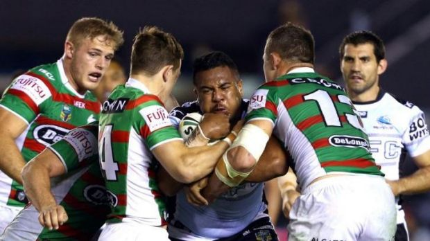 Siosaia Vave can't find a way through the rigid Souths defence.