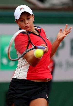 Ashleigh Barty hits out.