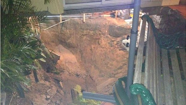The sinkhole in Swansea.