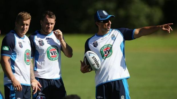 Targets: Trent Hodkinson and Josh Reynolds with Blues coach Laurie Daley.