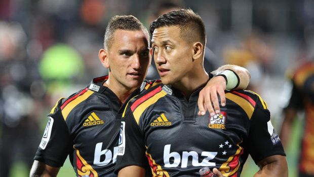 Tim Nanai-Williams (R) hasn't given up hope of playing for the All blacks.