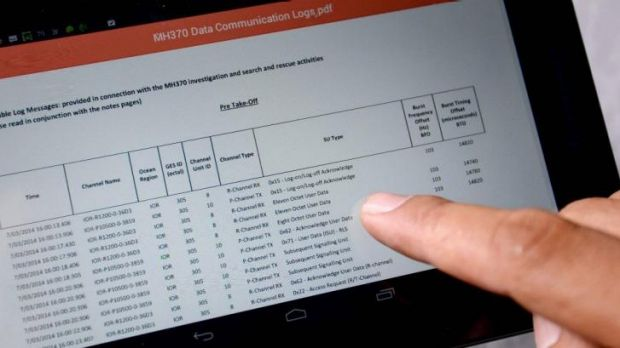 Data communication logs from British satellite operator Inmarsat, released by Malaysia's Department of Civil Aviation.
