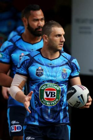 New South Wales Blues ...  Robbie Farah and Tony Williams walk out for the State of Origin training session.