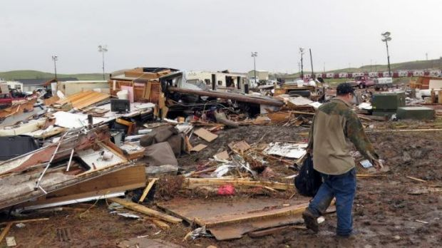 Destruction: The damage caused by the tornado.