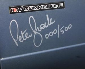 'Beautiful hand': Peter Brock's signature on the dash of a limited edition HDT car.