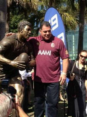 Mal Meninga and his statue at Suncorp Stadium.