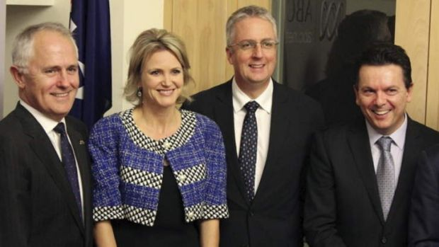 Communications Minister Malcolm Turnbull, Labor MP Melissa Parke, ABC managing director Mark Scott and independent ...