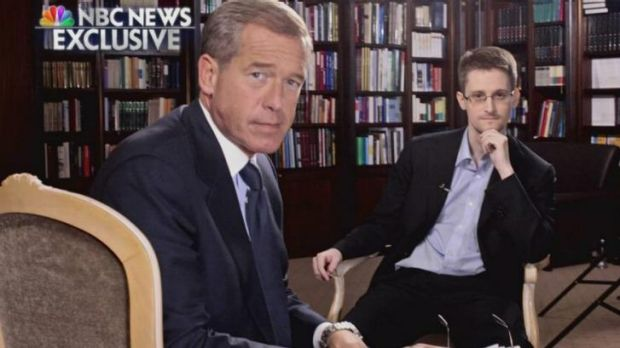 NBC's Brian Williams (left) with former National Security Agency contractor Edward Snowden in Moscow.