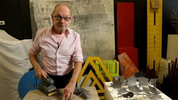 Sculptor Peter Mclisky in his Southbank studio with some of his work.