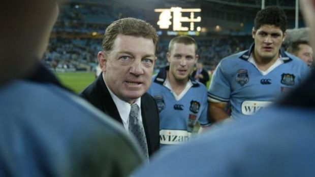 Phil Gould speaks to his troops after the game one victory in 2004.